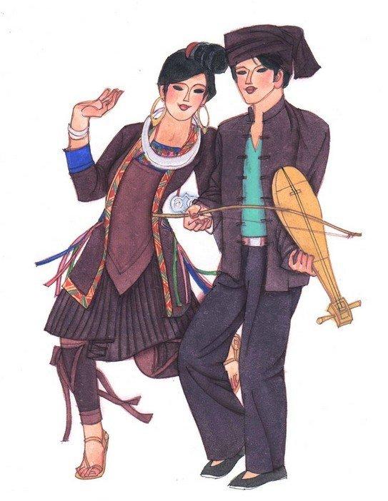 画画素描侗族服饰图片