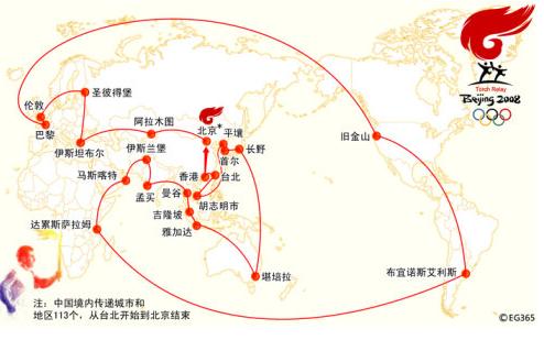 北京奥运火炬传递国际路线