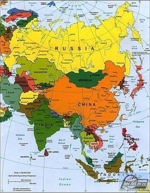 亚洲国家_亚洲48个国家,按地理位置分布分别为