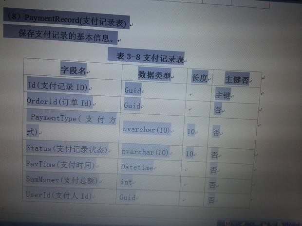 请问在**系统分析与设计中支付记录表的源代码怎么写