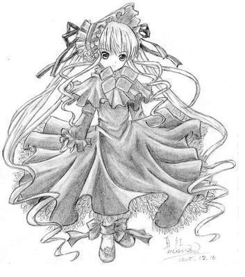求素描动漫美少女的图片