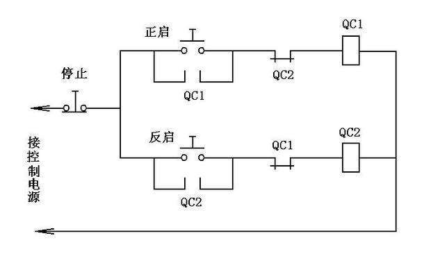 220v的接触器2个 怎么接 正反转互锁 控制线 两个启动按钮一个停止