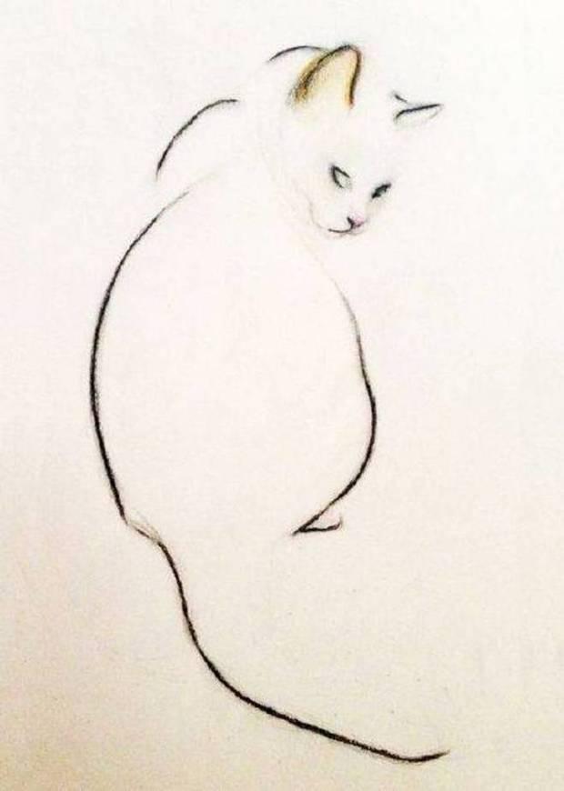 有张素描画是画着一只猫向又扭头,求这张画,如知者请发,急急急急