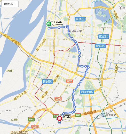 南京75路公交车线路图