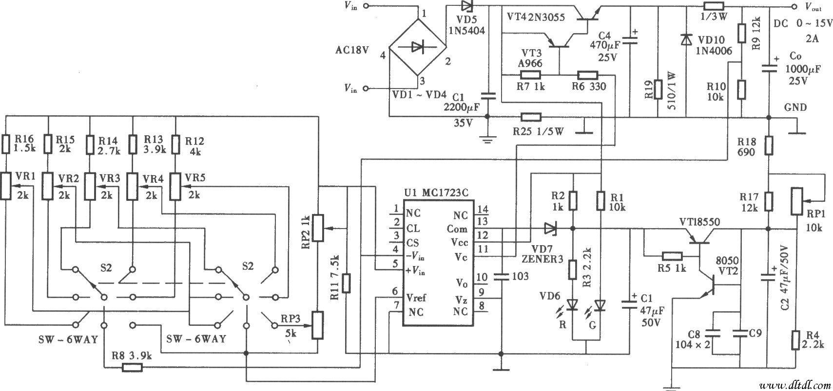 可调直流稳压电源是采用当前国际先进的高频调制技术,其工作原理是将